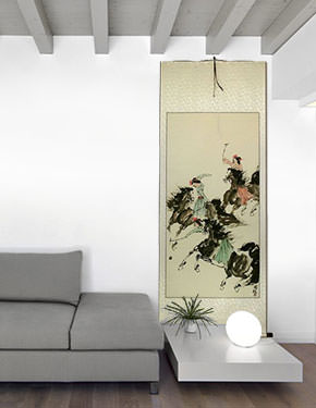 Polo Horse Wall Scroll living room view