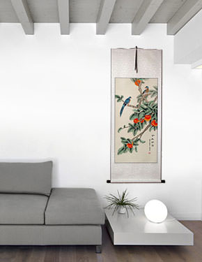 The Golden Autumn - Bird and Persimmon Chinese Wall Scroll living room view