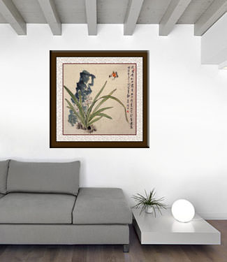 Ancient Chinese Style Bird and Daffodil Flower Wide Painting living room view