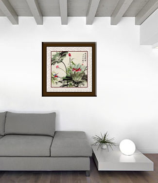 King Fisher and Lotus Flower Painting living room view