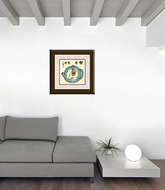 Enjoy Life, Live in a Tea Pot - Chinese Philosophy Painting living room view