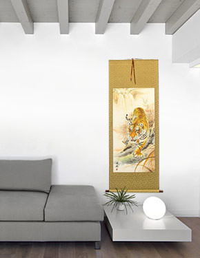 Classic Prowling Chinese Tiger Wall Scroll living room view