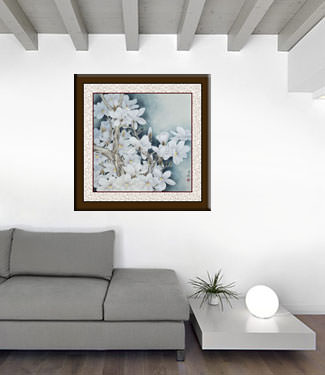 White Magnolia Flowers Painting living room view