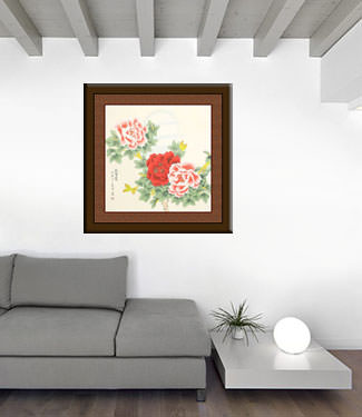 Chinese Peony Flower & Moon Painting living room view