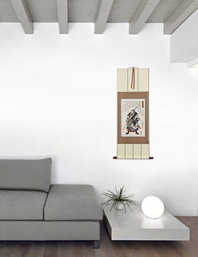 Japanese Samurai Wall Scroll living room view