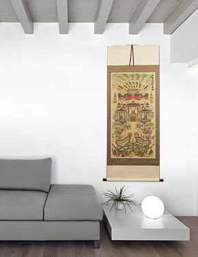 Buddhist Paradise Altar Print - Large Wall Scroll living room view