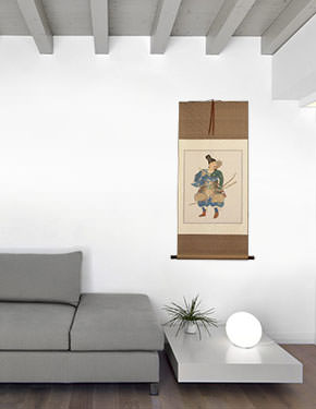 The Noble Archer Warrior - Japanese Print Repro - Large Wall Scroll living room view