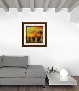 Cranes Taking Flight in Autumn - Asian Art Painting living room view
