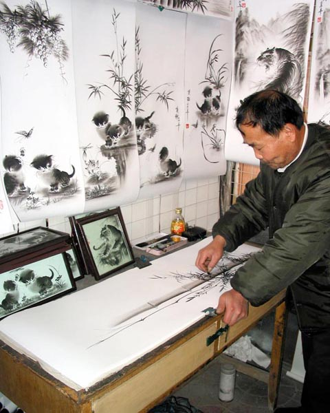 Old Mr. Wang, Charcoal Drawing Artist
