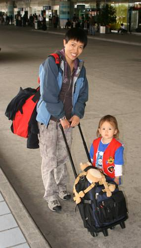 Kaili and Cat at the airport