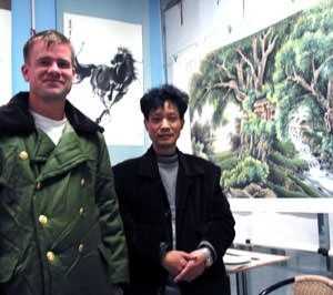 Cheng Zheng-Long and I visit in his Asian art studio near Chengdu.