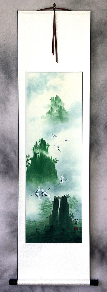 Spirits Visit Yellow Mountain Cranes - Wall Scroll