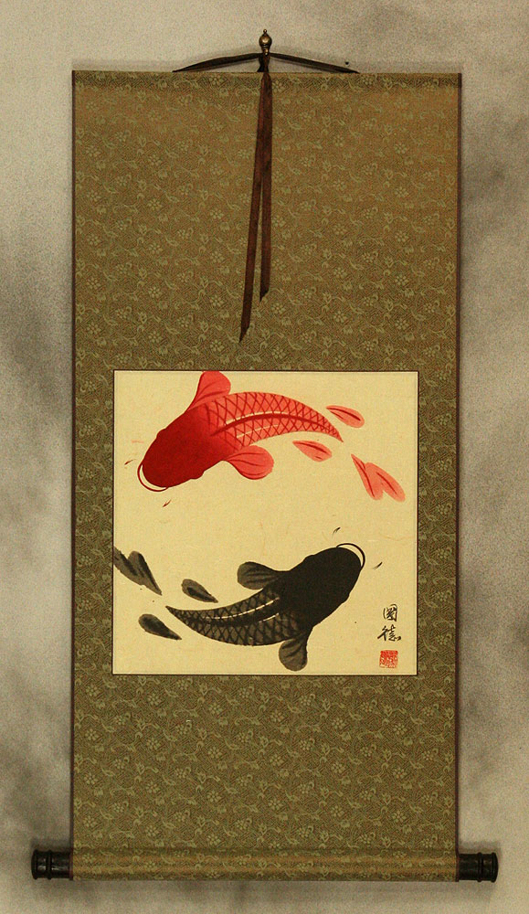 Yin Yang Koi Fish Wall Scroll Asian Art Bargain Bin