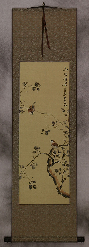 The Couple's Gaze - Chinese Bird and Flower Wall Scroll
