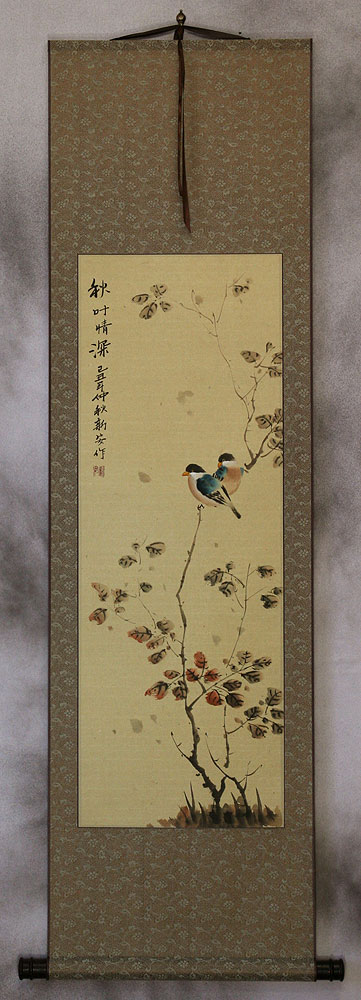 Autumn Leaves Deep Feelings - Bird and Flower Wall Scroll