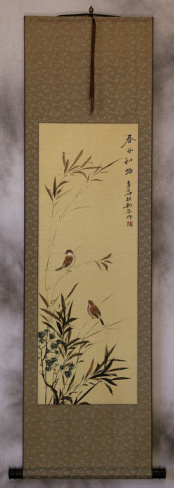 Summer Wishes - Chinese Bird and Flower Wall Scroll