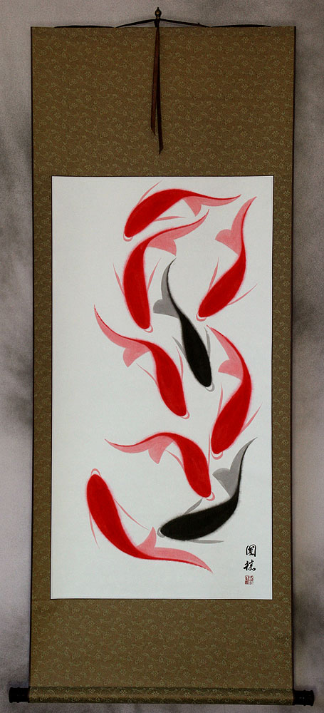 Nine Abstract Koi Fish Large Wall Scroll