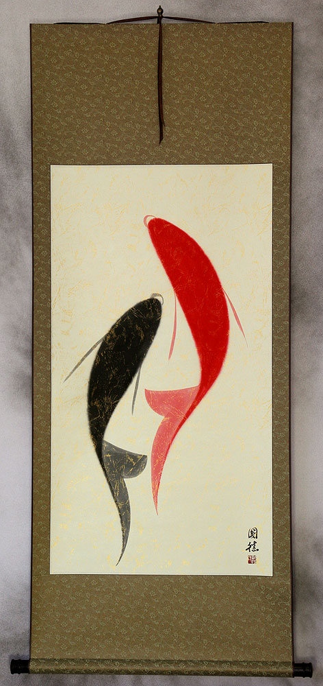 Large Abstract Chinese Yin Yang Fish Wall Scroll