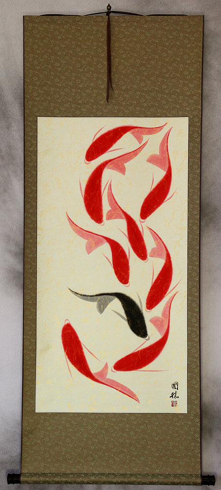 Large Nine Abstract Koi Fish Chinese Wall Scroll
