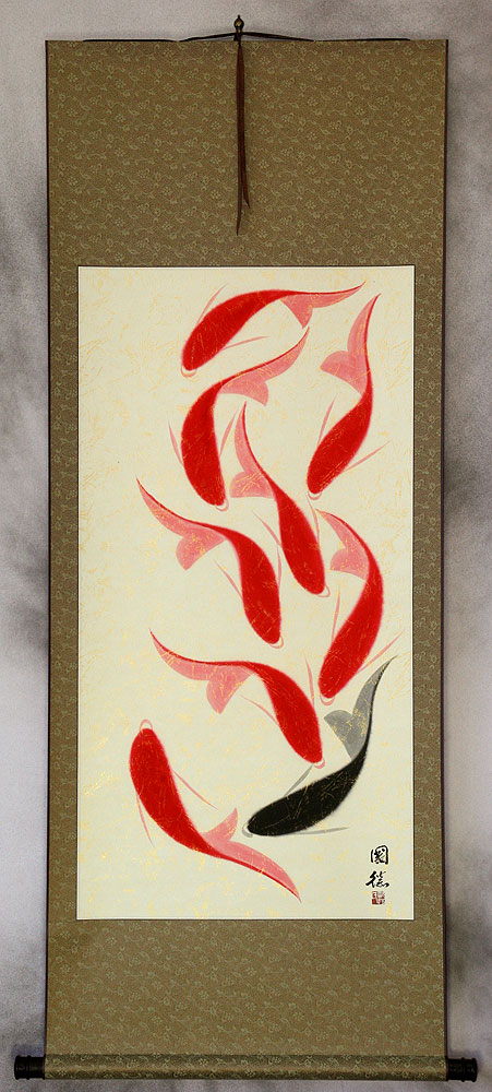 Large Nine Abstract Koi Fish Asian Wall Scroll