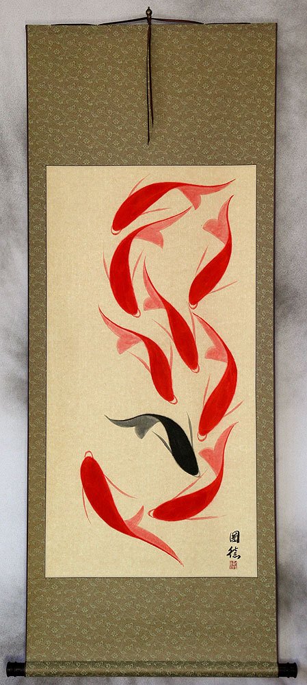 Large Nine Abstract Koi Fish Wall Scroll