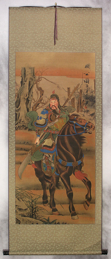 Warrior Saint Guan Gong Horseback - Partial-Print Wall Scroll