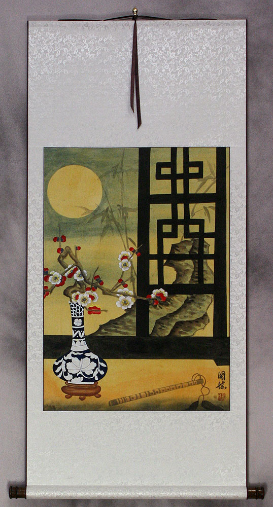 Asian Still Life Scene Wall Scroll