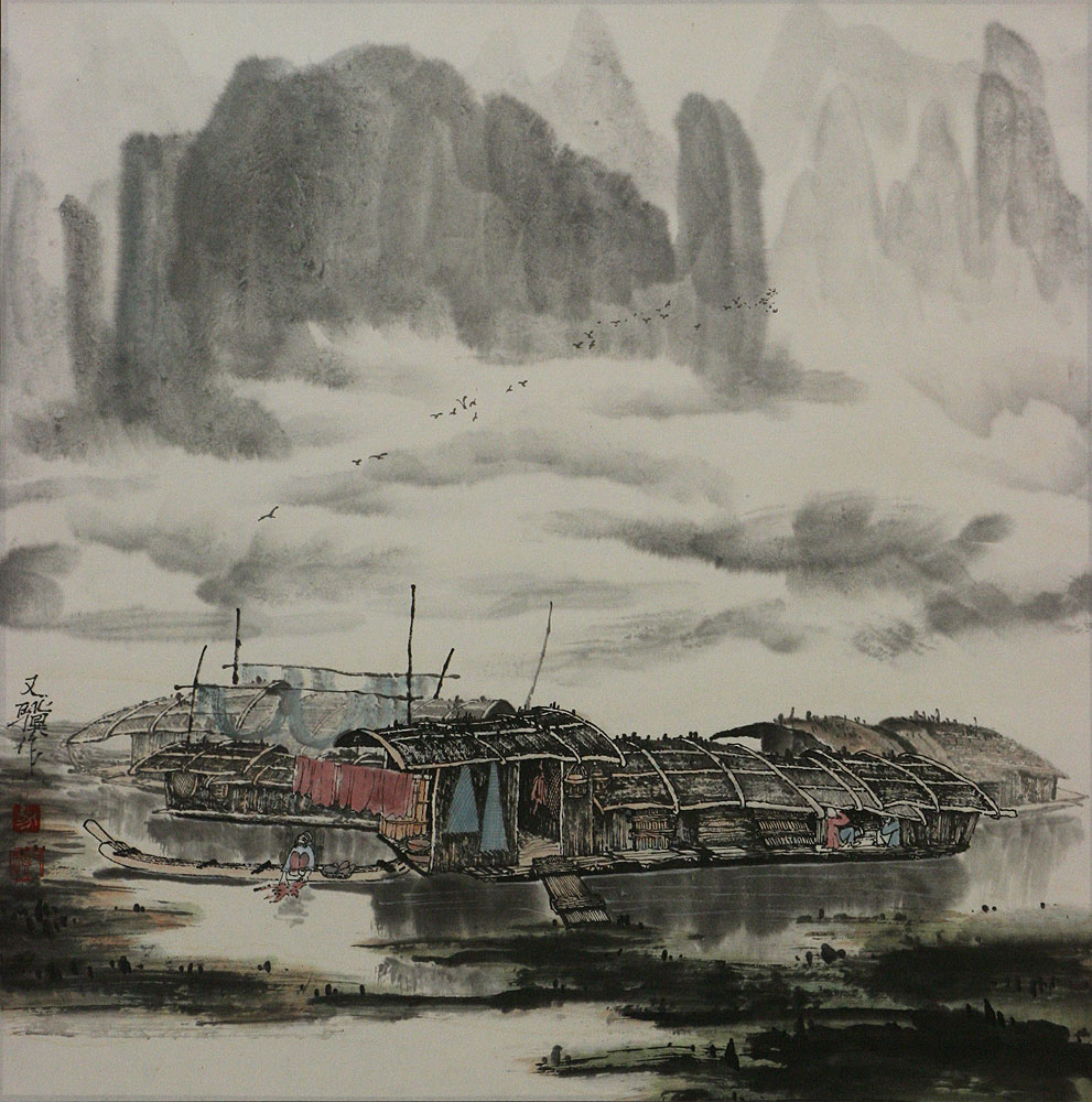Boats on the Li River - Landscape Painting
