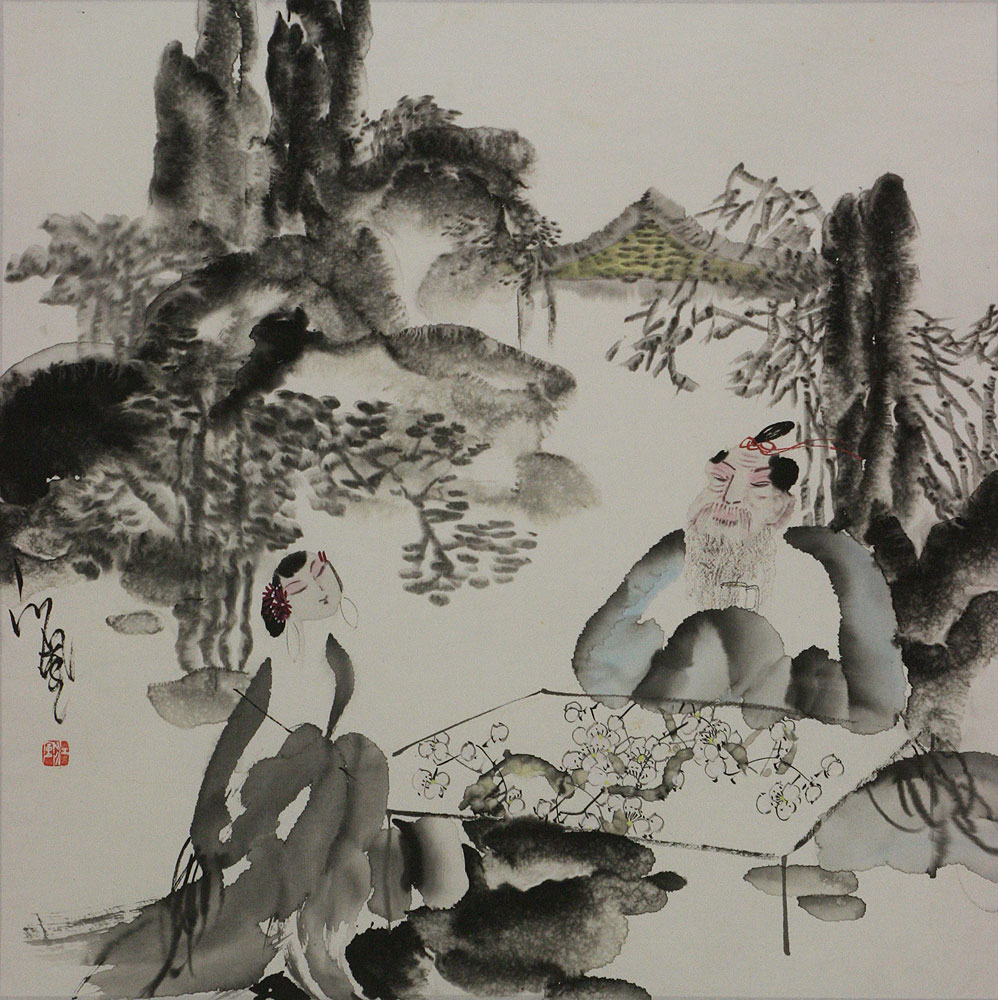 Jiang Feng's Drinking Tea with a Beauty - Abstract Chinese Art