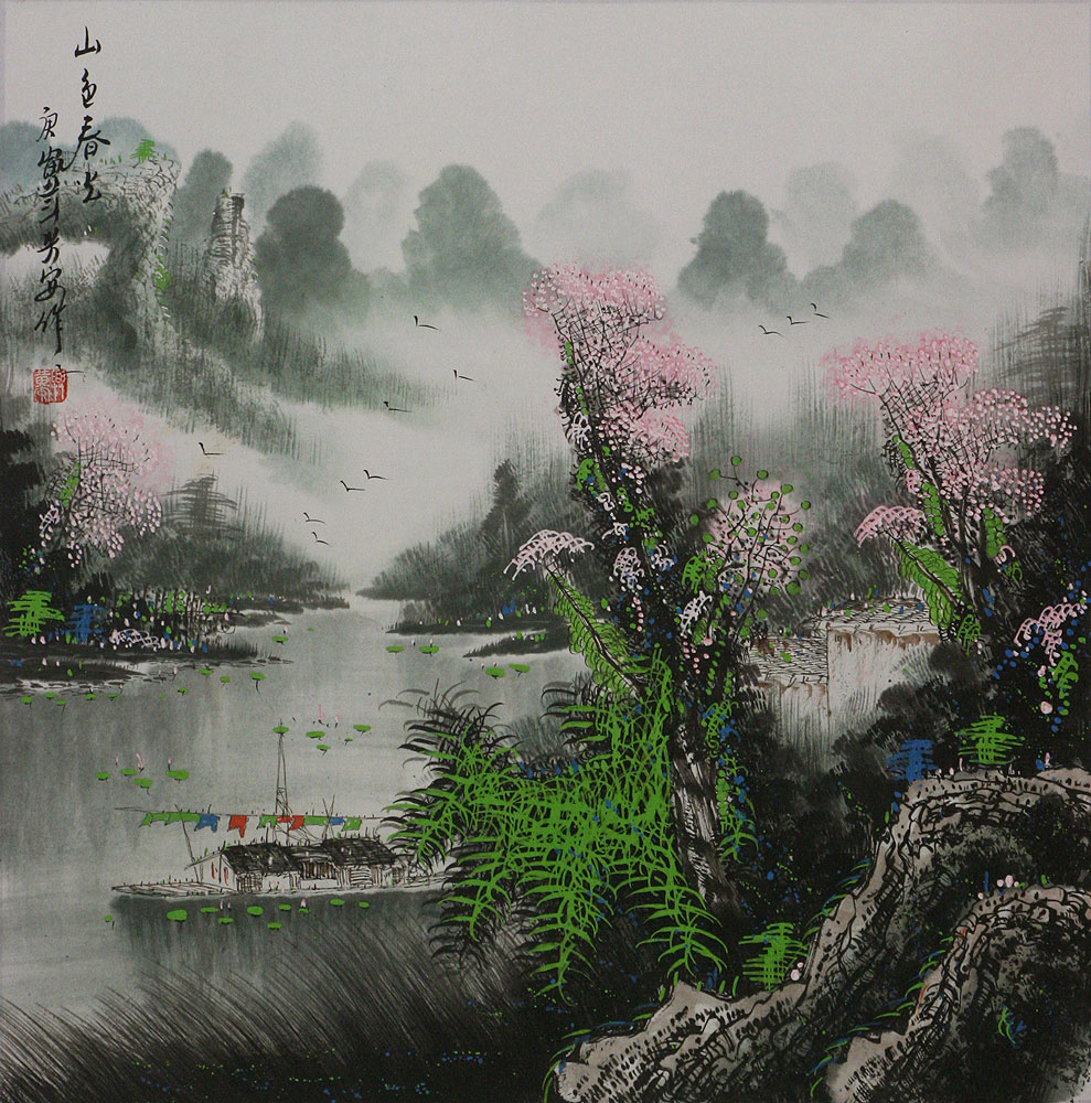 Springtime on the River - Boats and Landscape Painting