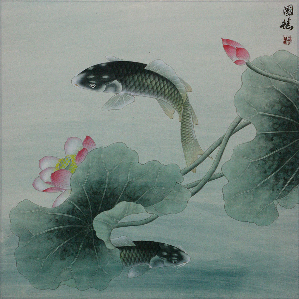 Koi Fish And Lotus Flower Subdued Chinese Painting Asian Koi