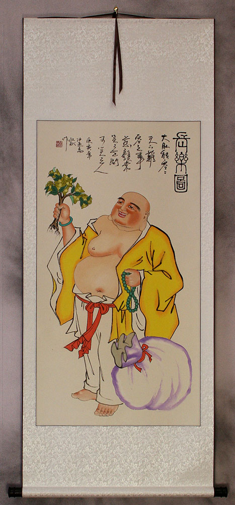 Happy Longtime Buddha Wall Scroll