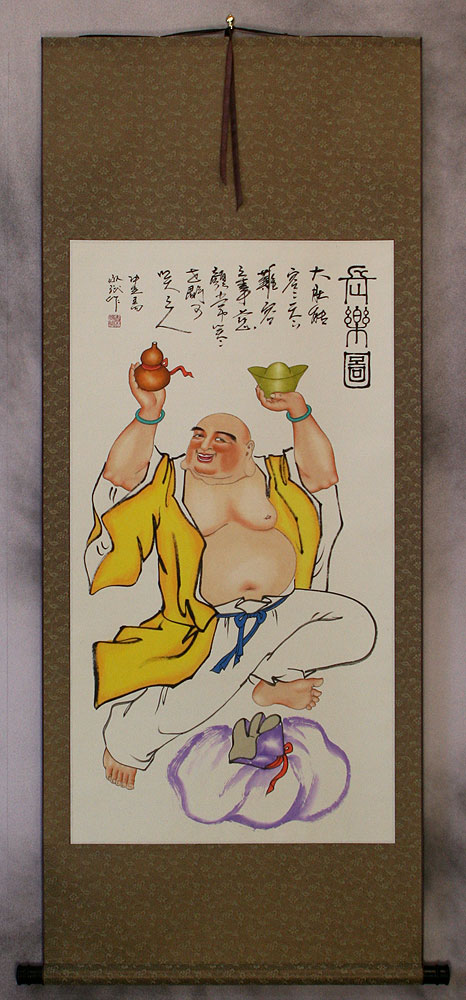 Happy Longtime Buddha - Asian Art Scroll