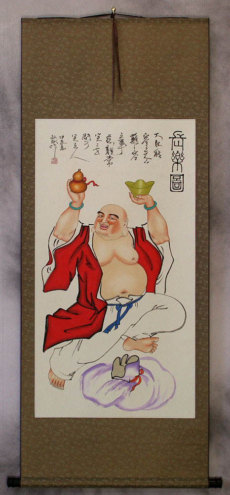 Happy Belly Buddha Wall Scroll