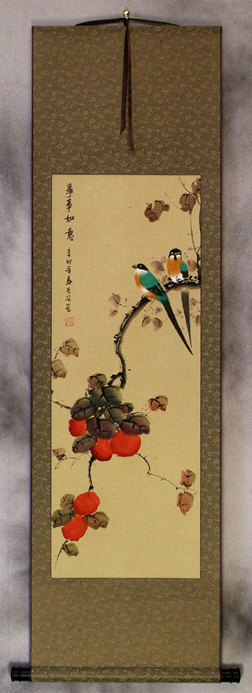 Everything As You Wish - Persimmon and Bird Wall Scroll