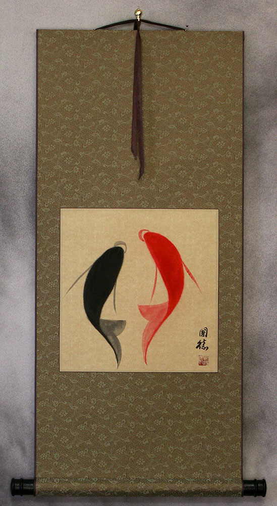 Yin Yang Fish - Abstract Asian Art Scroll
