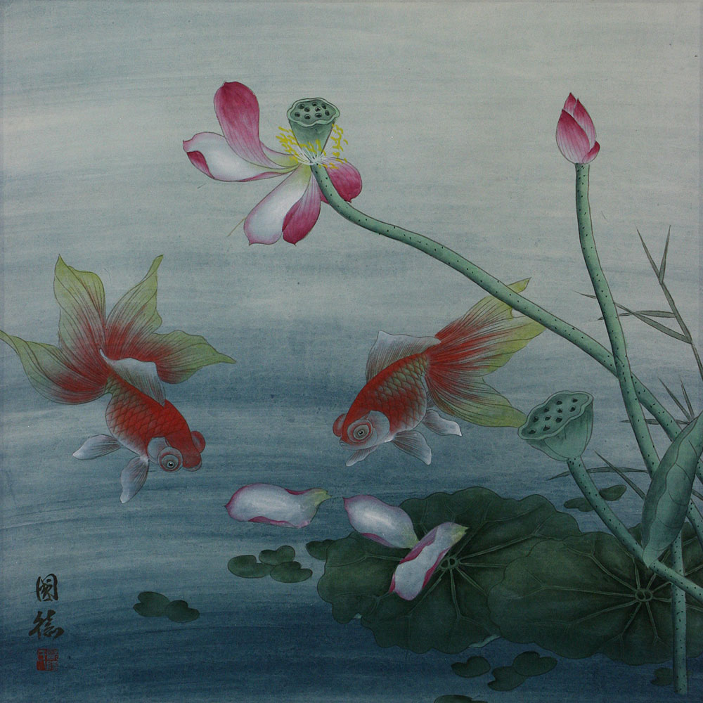 Gold fish and lotus flower chinese painting asian koi fish gold fish and lotus flower chinese painting izmirmasajfo