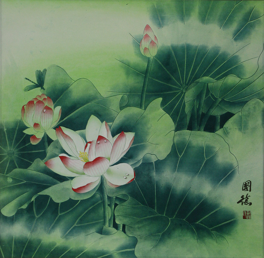 Chinese Lotus Flower Painting Birds Flowers Wall Scrolls