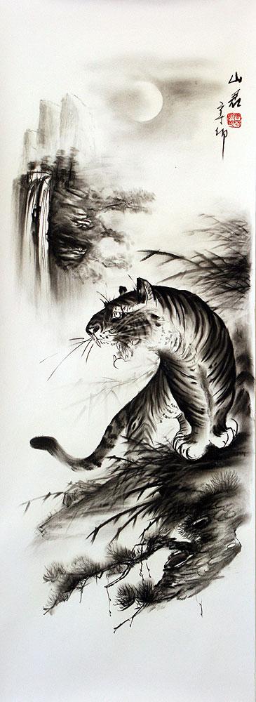 Black Amp White Roaring Tiger Drawing Mr Wang S Charcoal