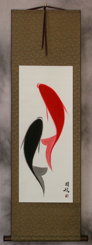 Chinese Abstract Yin Yang Fish Wall Scroll
