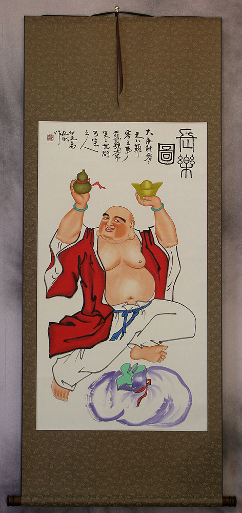 Fat Happy Buddha Wall Scroll