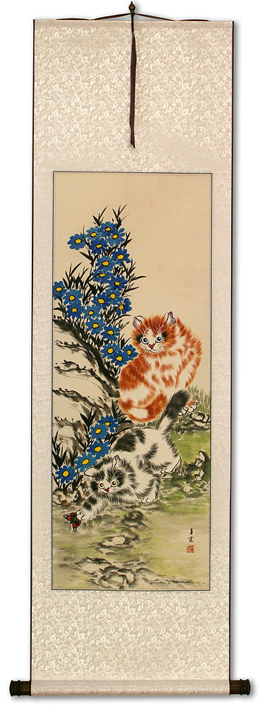 Cats / Kittens - Chinese Scroll