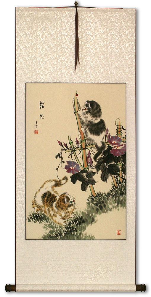 Asian Kittens - Chinese Wall Scroll