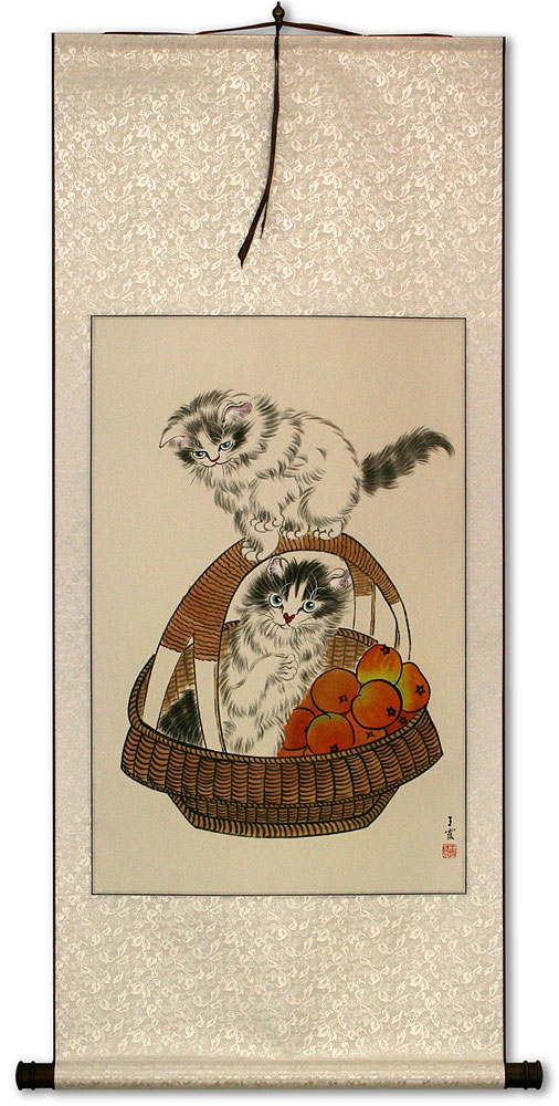 Chinese Kittens in Basket Wall Scroll