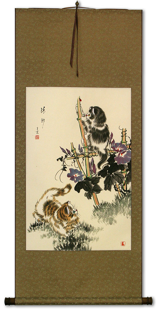 Oriental Kittens Wall Scroll