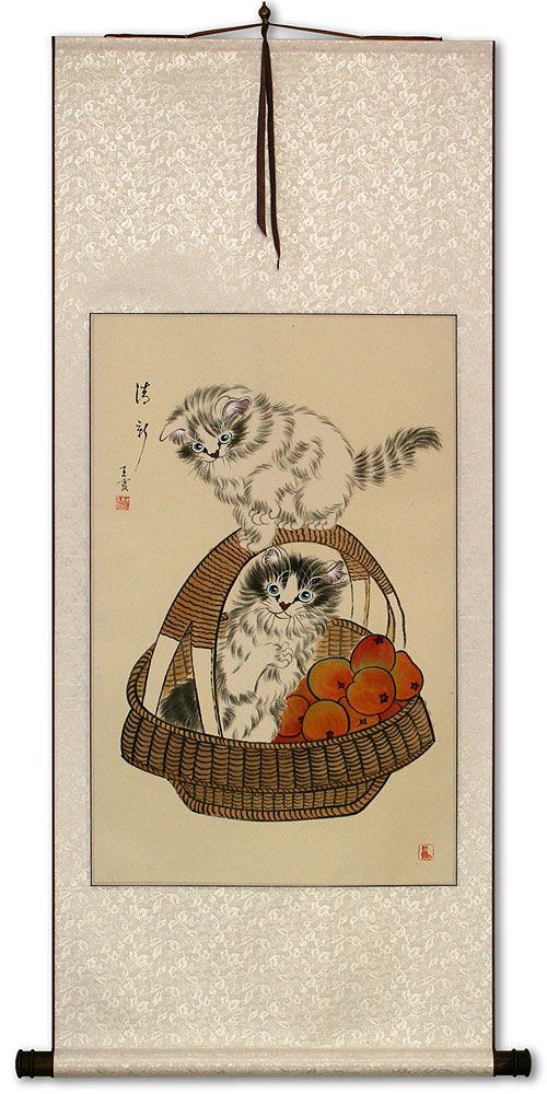 New and Fresh Kittens in a Basket Wall Scroll