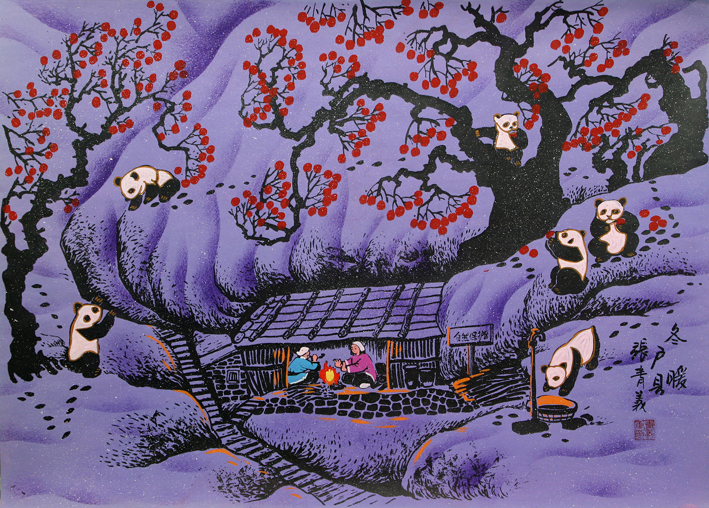 Warm Winter - Panda Bear - Folk Art Painting