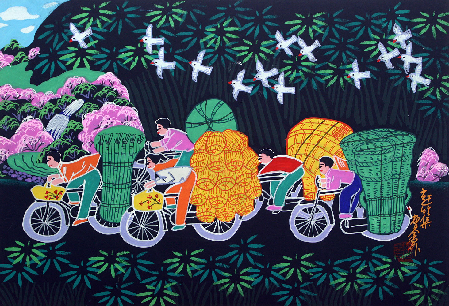 Going to Bamboo Market - Chinese Folk Art Painting