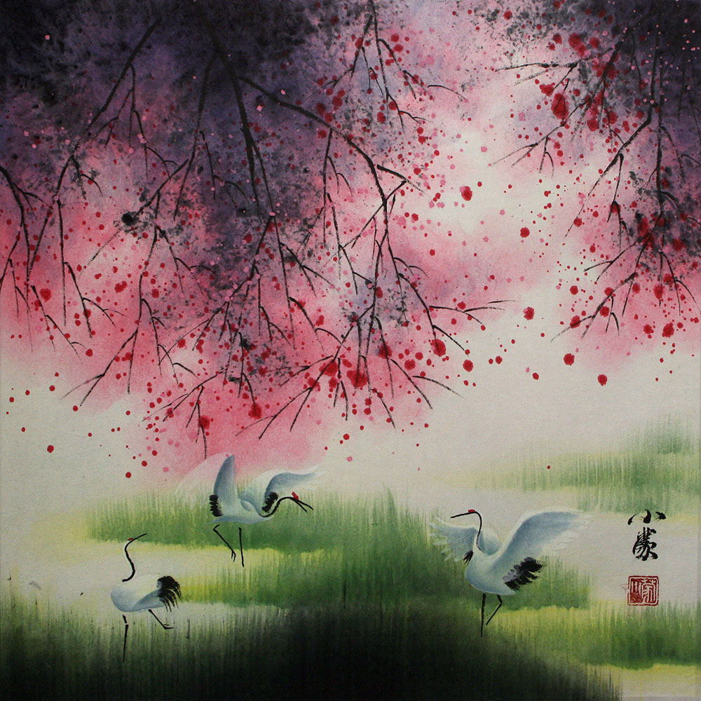 Four Seasons Cranes Chinese Watercolor Painting