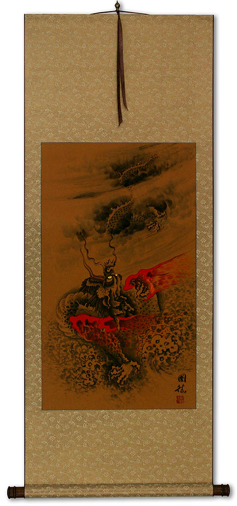 Fierce Chinese Dragon - Asian Wall Scroll